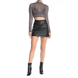BLANKNYC Faux Leather Sequined Moto Mini Skirt